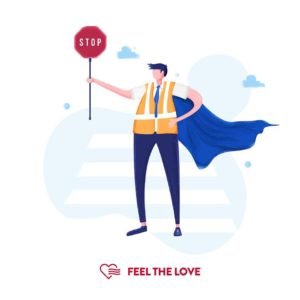Gibbon and Lennox Give Back by the Feel the Love campaign symbol of man holding uo stop sign