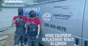 Gibbon heating and air conditioning team by van